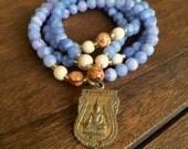 SALE! 50% OFF - Japa Mala - Stretch - Prayer Beads  - Blue Calcite -Mala Me Mala