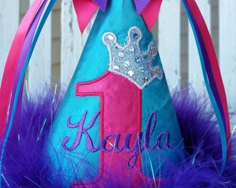 Girls Birthday Hat - Princess Party Hat - Girls 1st Birthday - Teal, Hot Pink and Purple - Personalized - Custom Made - Photo Prop