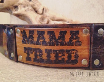 Rustic Leather Cuff Beacelet - mama tried
