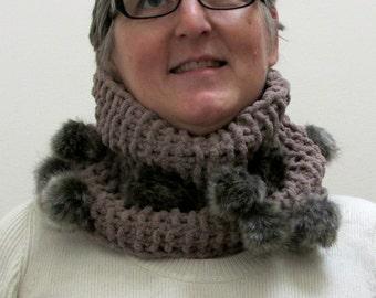 fur pom pom infinity cowl, neck warmer, circle scarf, chunky cowl