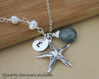 Personalized Starfish Necklace,Beach Wedding, Bridesmaids Necklaces, Nautical Theme, Birthstone of Choice,Silver Starfish Charm Necklace