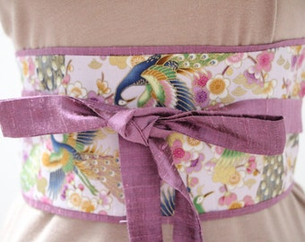 Lilac purple Dupioni silk - Obi Belt - Japanese belt - Figure slimmer - reversible Cherry Blossoms and peacocks: lilac/gold metallic