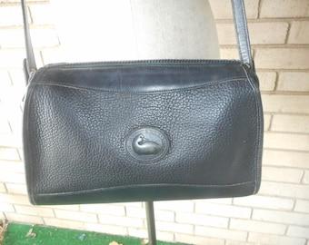 Vintage Solid Black Pebbled Leather Dooney & Bourke Satchel Purse Bag