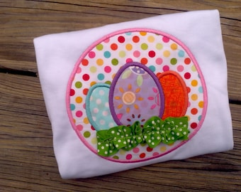 Easter EGGS Grass ribbon Applique SHIRT Personalized boutique girls hairbow Boy or girl