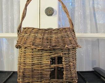 Vintage 90's large twig basket with side opening