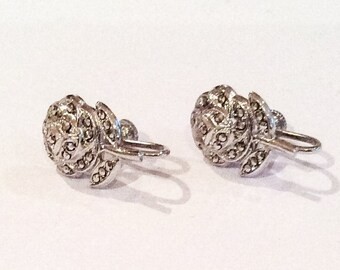 Art Deco Earrings, Rose, Flower, Marcasite, Sterling Silver, 1940s Vintage Jewelry CHRISTMAS IN JULY Sale