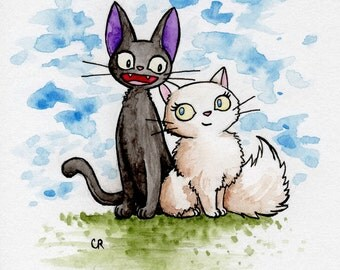 ORIGINAL Jiji & Lily watercolor painting