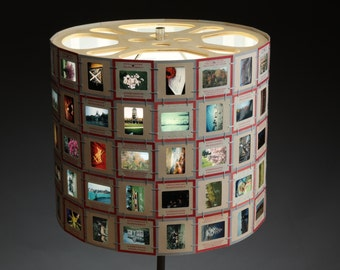 YOUR FAMILY SLIDES Made into Photographic Slide Lampshade, Movie Reel, Retro, Home Decor, Upcycled, Repurposed, 35mm Film, Designer, Art