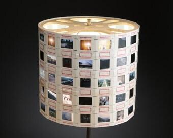 Handmade Photographic Slide Lampshade Movie Reel Top Retro Home Decor Upcycled Repurposed Old Kodak Film Unique Hand Crafted Designer Art