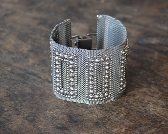 Vintage Mesh Bracelet Wide Cuff Woven Silver Tone Faux Marcasites Boho Gypsy Belly Dancing Jewelry 1980's // Vintage Costume Jewelry