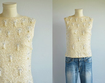 Vintage 60s Beaded Top / 1960s Cream White Sequined Sleeveless Lambs Wool Tank Sweater with Pearl Fringe