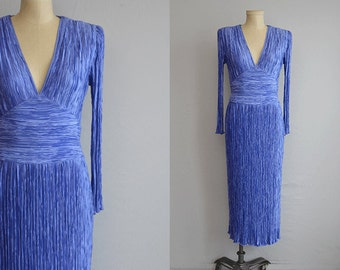 Vintage 80s Mary McFadden Dress / 1980s Fortuny Pleat Silk Evening Gown Grecian Cocktail Dress / Periwinkle Blue
