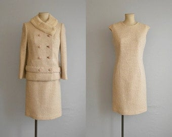 Vintage 60s Dress Suit / 1960s Mod Wool Plaid Wiggle Dress Jacket with Double Breasted Sheared Beaver Collar / Cream Mauve Lavender