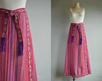 Vintage 70s Wool Maxi Skirt / 1970s Stripe Folk Braid Hostess Boho Festival Wrap Skirt with Fringe Belt / Pink Purple