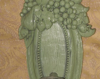 Green Fruit Wall Sconce Candle Holder Vintage Homco