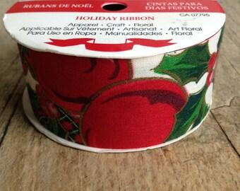 1 Roll, 2.74m, Holly Ribbon, Vintage Christmas Ribbon, Holiday Ribbon, Christmas Decor, DIY, Craft Supplies, Christmas Supplies