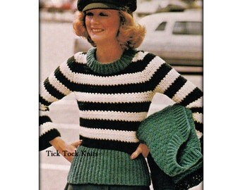 No.529 Crochet Pattern Women's Bold Stripes Sweater Set - Pullover & Cardigan With Pockets - PDF Vintage 1970's Retro Crochet Pattern