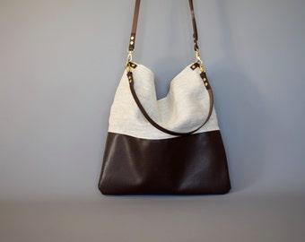 Dark Brown Leather and Linen Tote Sling Bag - HARRIS - Adjustable Leather Shoulder Bag optional zipper Leather Shopper Bag by HOLM goods