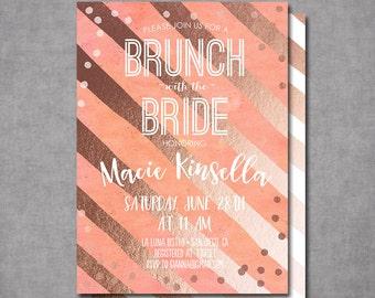 Gold Coral Watercolor Confetti Bridal Shower Baby Shower Invitation Bridal Shower Printable Invitation OR Printed Card