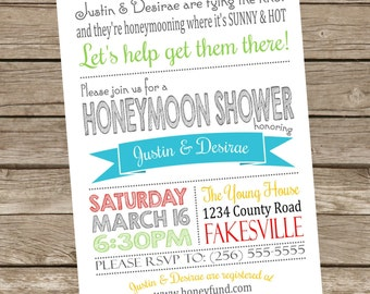 Printable Honeymoon Shower Party Invitations, 5x7, Typography, You Choice of Colors