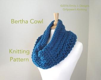 Chunky Cowl Scarf Knitting Pattern, Knit Cowl Pattern, Neck Warmer Scarf, Super Chunky Yarn