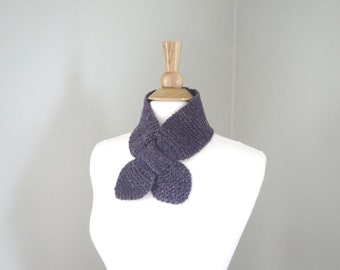 Purple Ascot Scarf, Bow Neck Office Scarf, Hand Knit Cashmere Blend, Small Chic