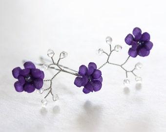 82_Violet bobby pin,Bridesmaids,Purple flower pin,Silk flower,Hair pin,Hair clips,Flowers,Hair piece,Crystal pins,Flower girl,Wedding hair