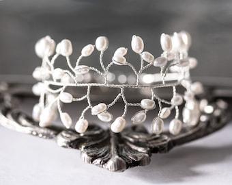 61_Pearl vine cuff bracelet, Ivory pearl bridal bracelet, Bridal silver bracelet, Bridal pearl jewelry, Freshwater pearl bracelet, accessory