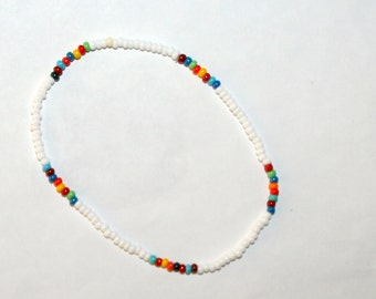 Rainbow Anklet White Mixed Colors Beach Anklet Boho / Hippie Gypsy / Southwestern / Native Indian Women Teen Opaque Czech Glass Seed Beads