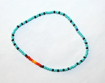 Sunrise / Sunset Anklet Seed Bead Hippie Boho Native American Indian Jewelry by CzechBeaderyShop Southwestern Teen /  Women's Jewelry Gift
