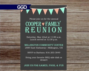 Family Reunion Invitation With Banner, Banner Invitation, Family Reunion  Invitation, Printable Invitation   Family Reunion Flyer