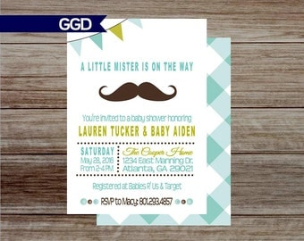 Little Man Baby Shower Invitation with Mustache, baby boy, baby shower, mustache invitation,little man baby shower-Printed or Digital File