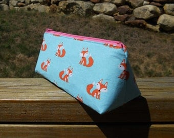 Pencil Case, Foxes on Blue, Fox Pencil Pouch, Fox Crochet Hook Bag, One of a Kind