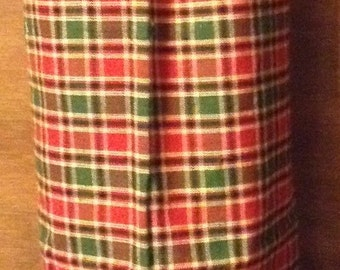 Gorcery bag holder Christmas red and green plaid