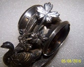Gorgeous Victorian Era, silverplate napkin holder, swan and flowers