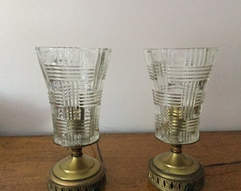 Pair of Vintage Art Deco Brass and Crystal Table Lamps Bedside Lamps Sconces