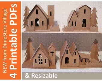 DimeStore Village Printable and Resizable Pdfs — Set of 4 templates