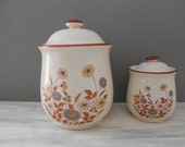 Vintage Canister Crocks - Set of Stoneware Pottery Crocks - Farmhouse Kitchen Containers