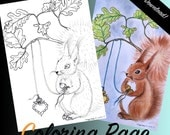 "COLORING PAGE: ""A Fuzzy Feeling"". Coloring for adults, Instant DOWNLOAD, printable, squirrel, oak leafs, heart."