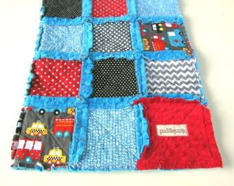 Automobile Rag Quilt with Blue Minky || Cars & Trucks Baby Quilt || Blue Minky Rag Quilt || Transportation Rag Quilt with Minky
