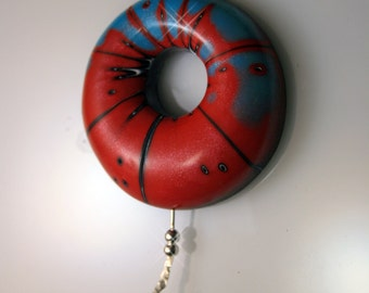 Polymer Clay Air Pendant - WEARABLE ART!!!  Red and Blue striped