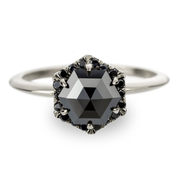 Unique Black Diamond Engagement Ring Hexagon Diamond