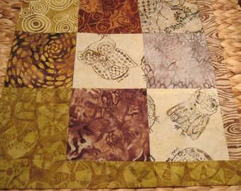 """14"""" x 14"""" Batiks Pillow COVER - 9 Chocoloate Mocha Brown Squares of Nature Surrounding Forest Owls"""