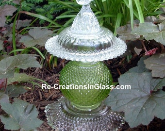 """Garden totem.  Garden art. """"Bird in the Bush"""" Garden Totem made with upcycled and vintage glass."""