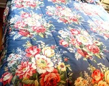 "3 pc Ralph Lauren Reversible King Grande King Comforter 98 x 94 "" Blue Floral w 2 King Shams"