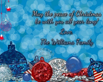 Christmas card, patriotic, red white and blue, Americana Christmas card, ornaments,USA, you print, digital file