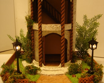 Half Scale 1/24th scale Fairy Tower Dollhouse Roombox with Yard Base.