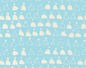 Swell in Blue - Rain Walk (Canvas) - Anna Graham - Cloud 9 Fabrics - Organic Cotton - 1 Yard