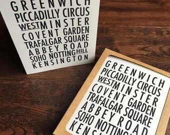 London typography print - London neighbourhoods - Set of 8 cards