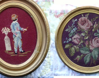 Two Framed Vintage Cross Stitch Canvases - Free Shipping